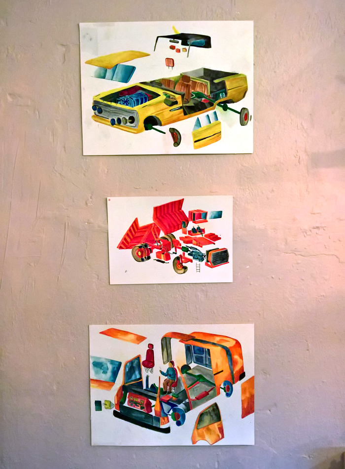 Pictures of cars with come parts drawn as separate from the main car
