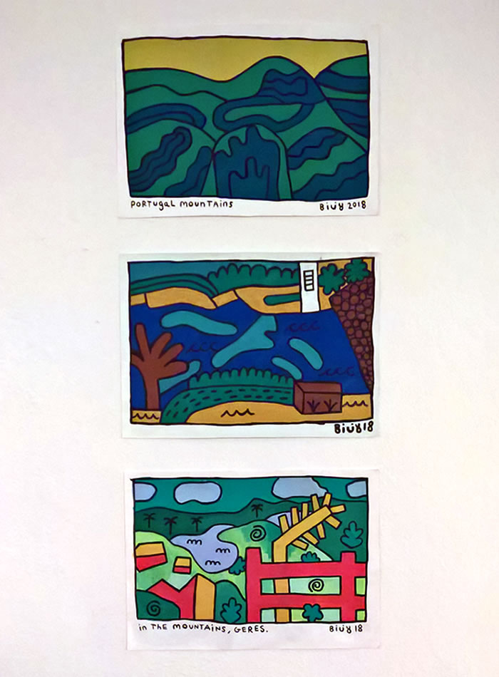 Three landscapes drawn with think outlines and bright colours